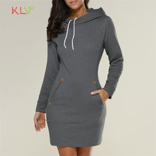Dress Women  Autumn Hooded Plus Size  Sweatshirt Long Sleeve Sweater Hoodies Jumper Mini Dress 17SEP21