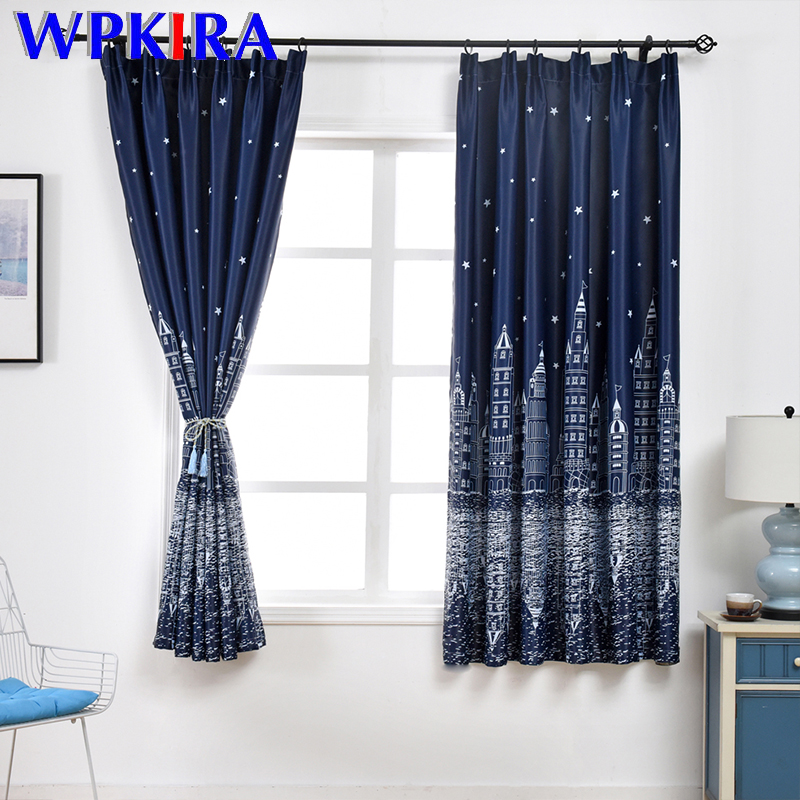 Modern Printed Castle Coffee Color Blackout Curtain For Kids Boys Bedroom Navy Blue Short Curtain Kitchen Window Drapes PC009D3