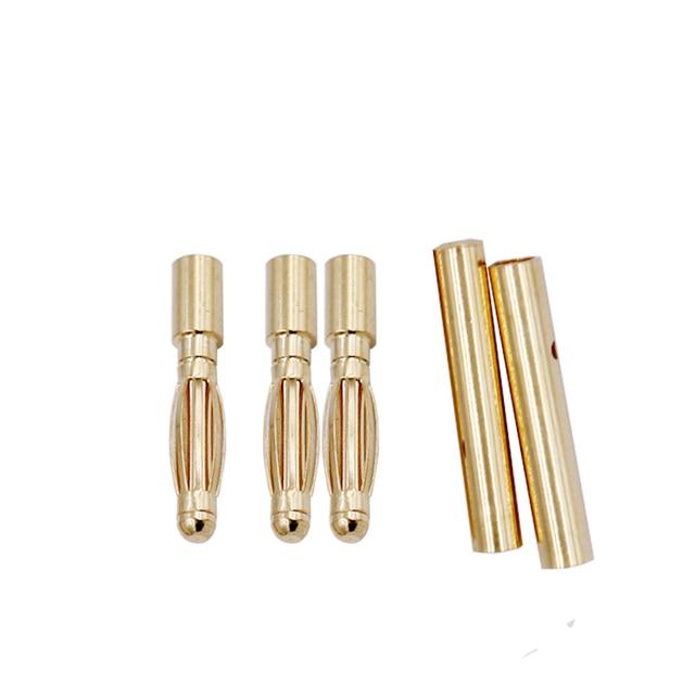 10 par/lote 2,0mm 2mm RC Banana bala de oro conector macho hembra para CES Lipo RC de la batería 20% de