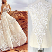 1 Piece Embroidery Lace Applique Large Ivory White Handmade DIY Accessory Materials  Wedding Dress Trim Long Fabric
