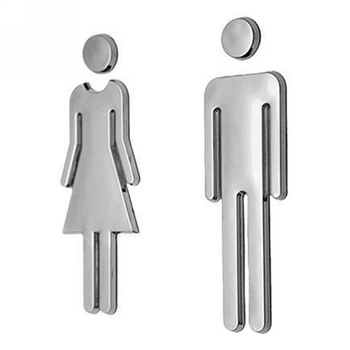 Adhesive MEN WOMEN Toilet Door Sign Bathroom Restroom WC Door Sign for WC Toilet Door Sign Sticker