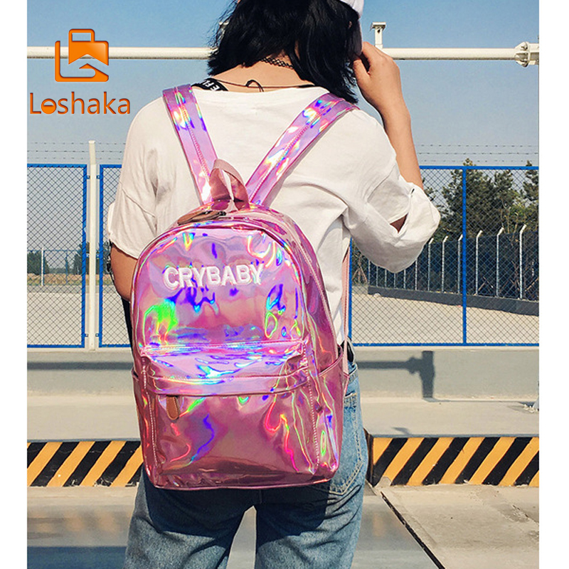 Loshaka Hip-hop Style Embroidery Letters Crybaby Hologram Laser Backpack Women Soft Pu Leather Backpack School Bags For Girls #4
