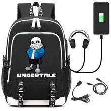 Undertale Sans Rucksack กระเป๋าเป้สะพายหลังกระเป๋า W/USB แฟชั่นพอร์ต/ล็อค/หูฟังแล็ปท็อปนักเรียนโรงเรียนกระเป๋าของขวัญ