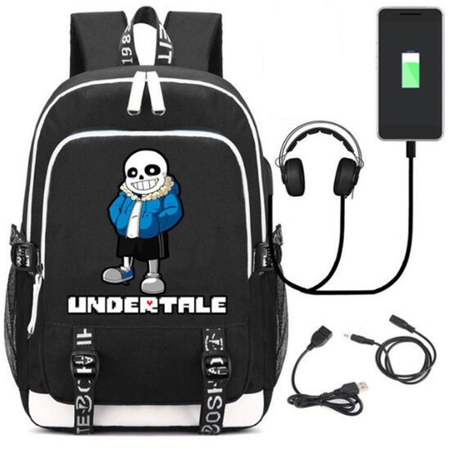لعبة Undertale بلا حقيبة ظهر حقيبة W/USB الأزياء ميناء/قفل/سماعة السفر كمبيوتر محمول الطلاب حقيبة مدرسية هدية-في حقائب الظهر من حقائب وأمتعة على AliExpress