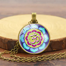 2018 New Yoga Mandala Time Gem Necklaces Fashion Ladies Pendant Necklace For Women Chain Jewelry Wholesale(China)