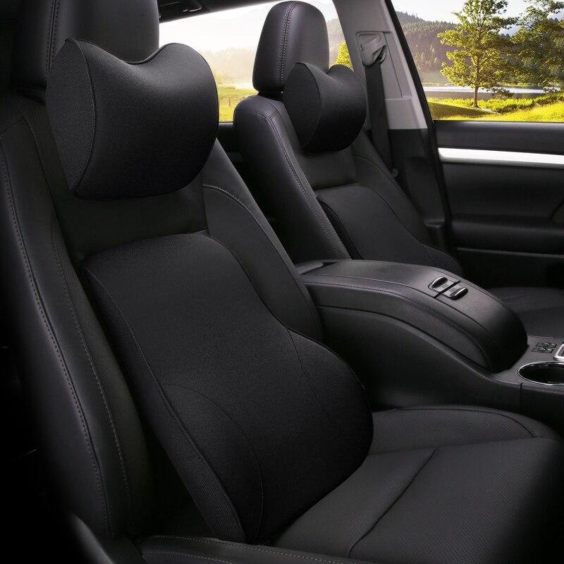 KKYSYELVA 首枕腰椎腰サポートヘッドレスト枕バッククッションシート低反発シートカバー自動車の付属品 -