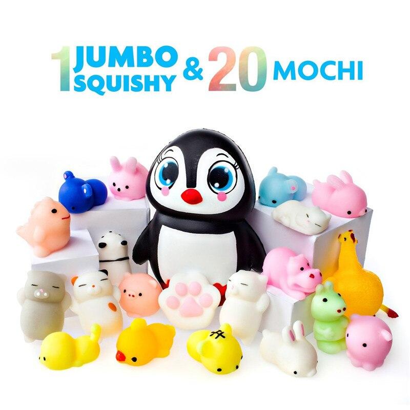 Mochi Squishy Toys 20 Squishies Pack And 1 Jumbo Squishies Slow Rising Cat Panda Squishy Animals