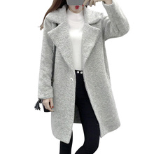 Winter Gray Oversized Coats Korean Woolen Coat Lapel Loose Elegant Long Wool Cotton Overcoat Thickening Single Button Outwear