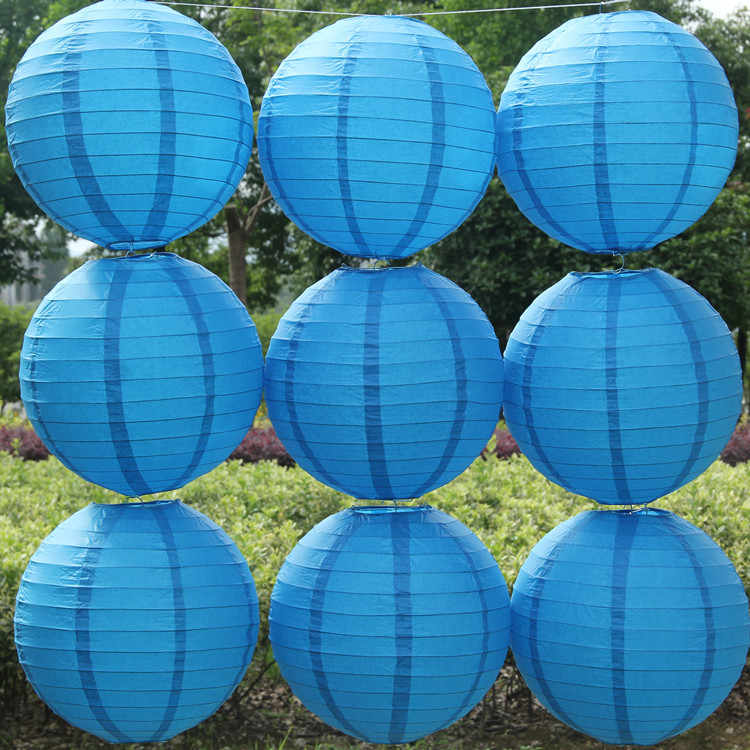 Blue Color China Paper Lanterns 15cm for Wedding Event Party Decoration Holiday Supplies boule chinoise papier hanging lanterns