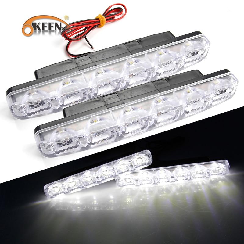 OKEEN 2PCS LED-es autó nappali menetjelző lámpák DRL 6 LED-ek DC12V 6000K Autós fényforrás Autós stílusú Vízálló figyelmeztető ködlámpa