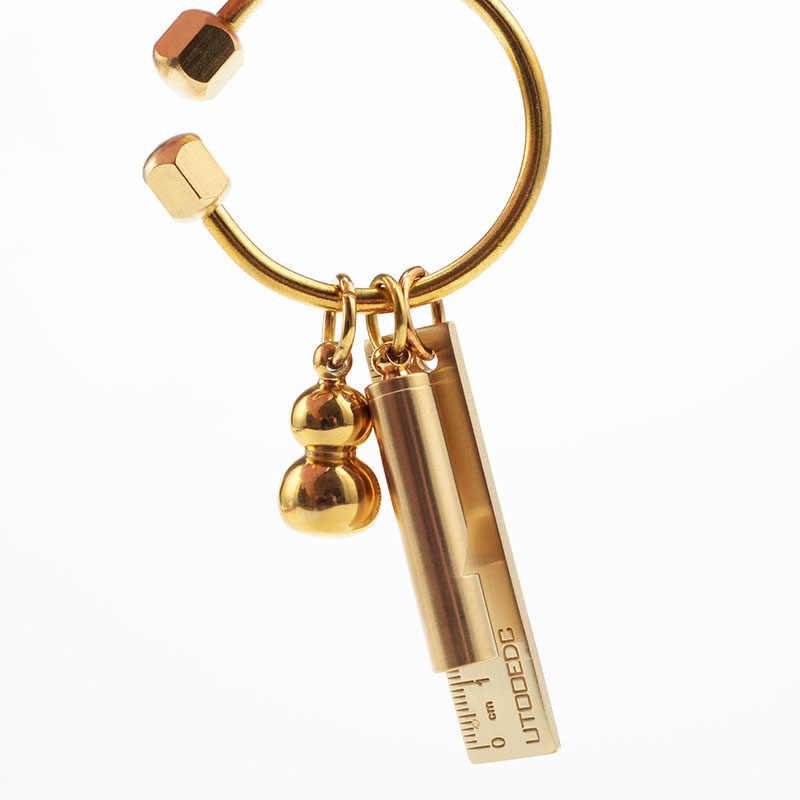 LẠI Tay Đơn Giản Bằng Đồng Móc Khóa Vàng Bắc Âu Ngoài Trời móc khóa Nam nữ Móc Chìa Khóa Ô Tô Đựng Phụ Kiện D0435