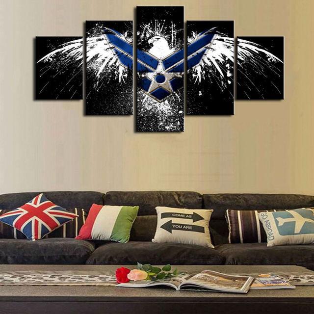 HD Print 5 pcs Air Force Eagle canvas wall art print painting art ...