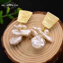 Купить с кэшбэком GLSEEVO Natural Fresh Water Pearl Geometry Dangle Earrings For Women Ethnic Drop Earring Luxury Fine Jewelry Bijoux Femme GE0569