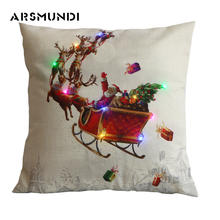 Christmas Flax Printed LED Cushion Cover Home Cotton Linen Christmas Cover Snowman Pillowcase Reindeer Decorative Pillows snowman print cushion cover pillowcase