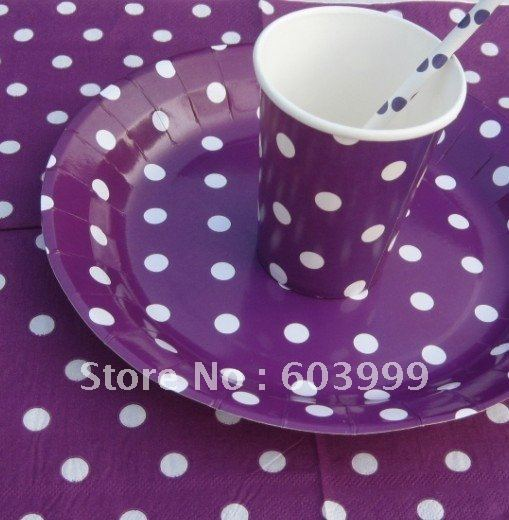 POLKA DOT PURPLE PARTY SUPPLIES Package- Party Decorations - Party Kit - Purple spots napkin & POLKA DOT PURPLE PARTY SUPPLIES Package Party Decorations Party Kit ...