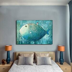 QKART постер и печать, маленький дом на большой рыбе, картина для дома, декоративная картина на холсте, печать для гостиной, без рамки