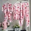 Conjuntos de Roupas Floral Pijama Define Mãe e Filha família Pijama Combinando Roupas Se Adapte Às Meninas Oco Out Blusa Sleepwear + Calças