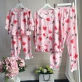 Family Clothing Sets Floral Pajamas Sets Mother Daughter Pajamas Matching Clothes Suits Girls Hollow Out Sleepwear Blouse +Pants