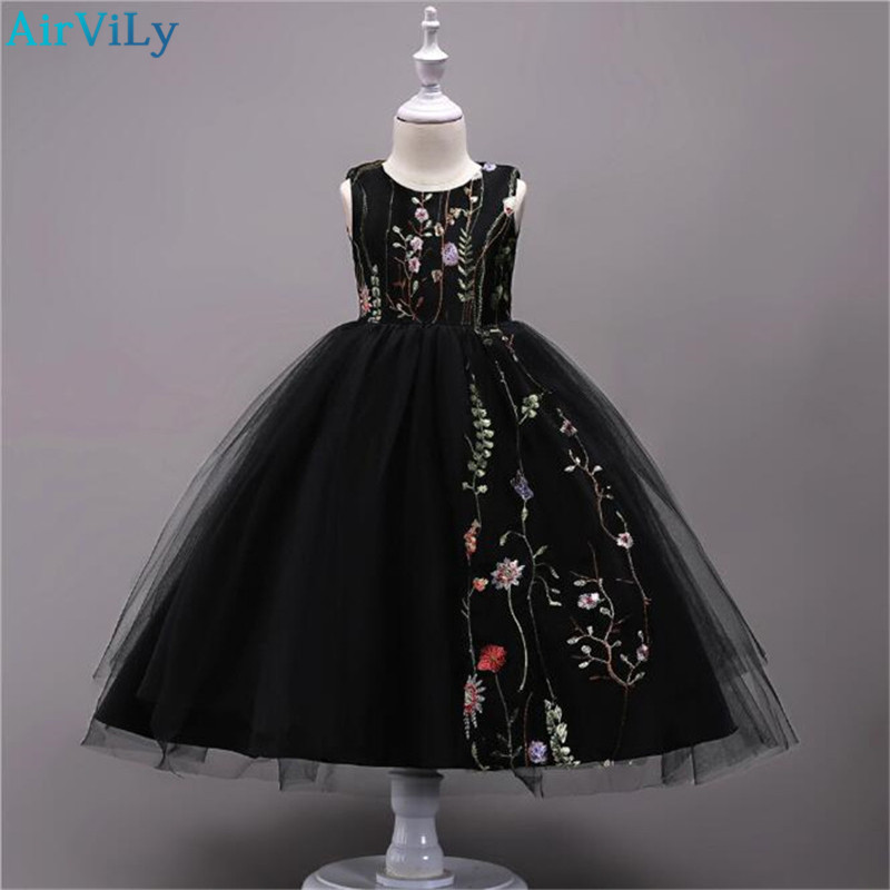 New Arrival Flower Embroidery Girls Dresses for Summer Kids Party Wedding Flower Girl Dress Children Fairy Tulle Princess Robe new fashion embroidery flower big girls princess dress summer kids dresses for wedding and party baby girl lace dress cute bow