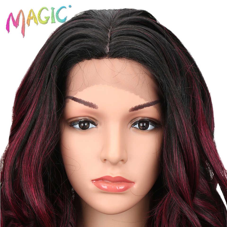 MAGIC Hair Hittebestendige Hoge Temperatuur Vezel Haar Lange Losse Golvend Grijs Ombre Blond Rood Synthetische Kant Voor vrouwen