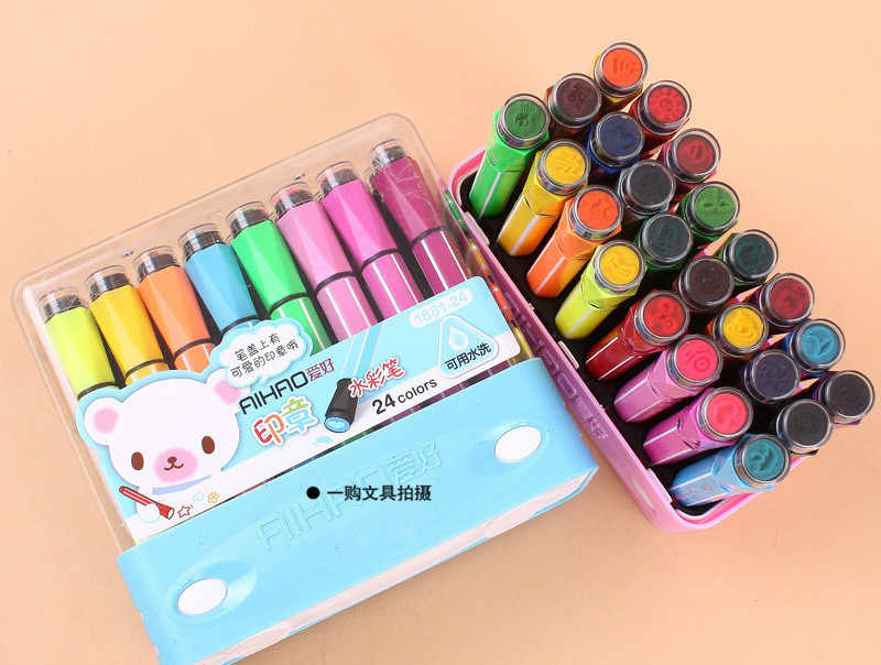 Hot selling AIHAO 1881# washable markers seal watercolor pen thick head brush 12/18/ 24 colors seal art marker escolar etui