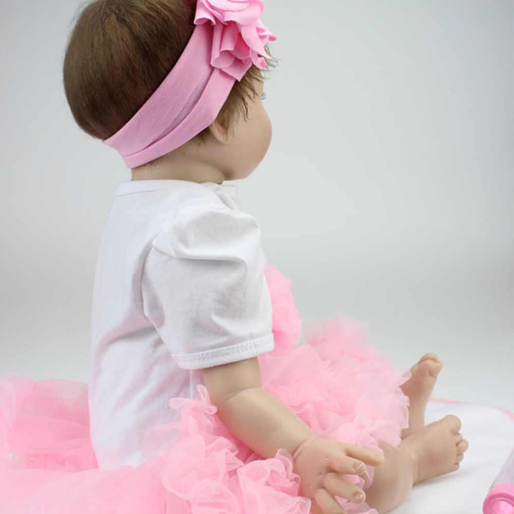 NPK 55CM cara sonriente Bebe Reborn muñeca realista silicona suave muñecas Reborn juguetes para niñas Regalo de Cumpleaños muñeca de bebé a la moda