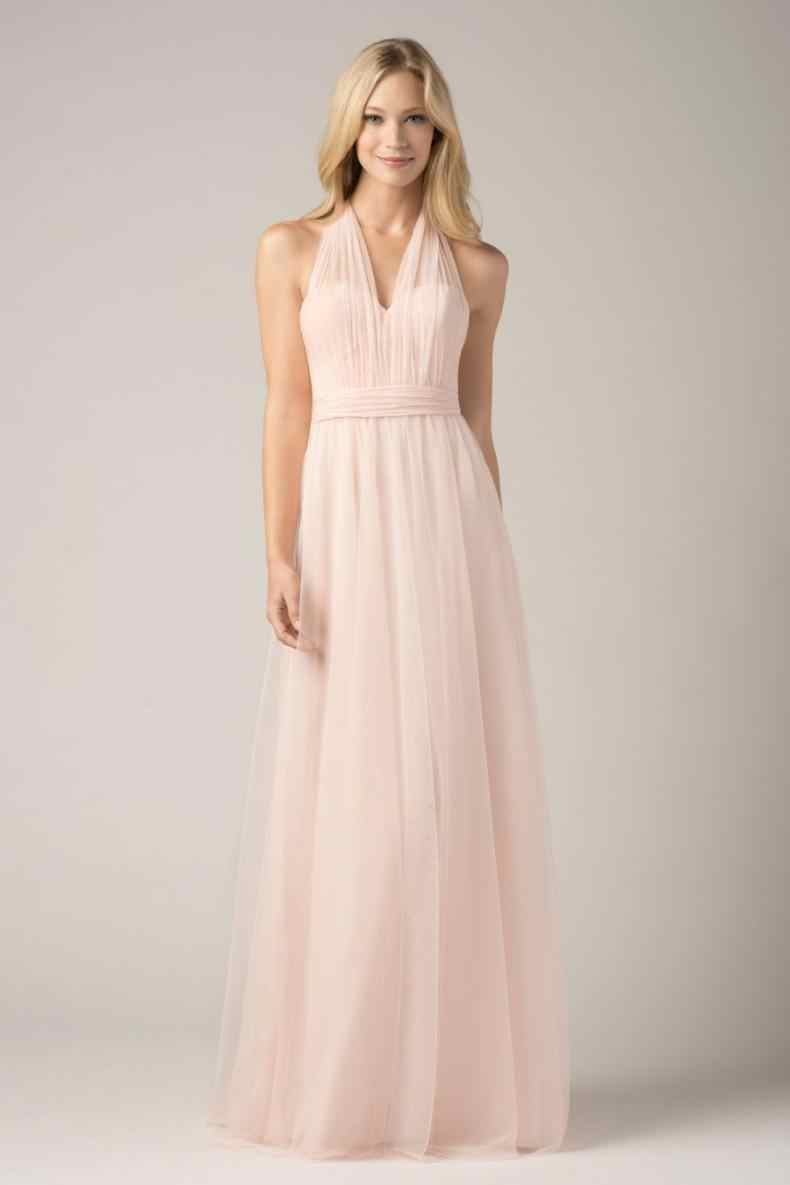 2018 Convertible Bridesmaid Dresses Blush Pink Custom Made Fashion A Line  Formal Plus Size Junior Bridesmaids Gowns Floor Length