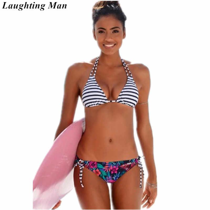 Loghting hombre marca Sexy traje de baño brasileño Bikini Set 2018 estampado Bralette Off blanco traje de baño mujeres Micro Bikinis Biquinis YJ201