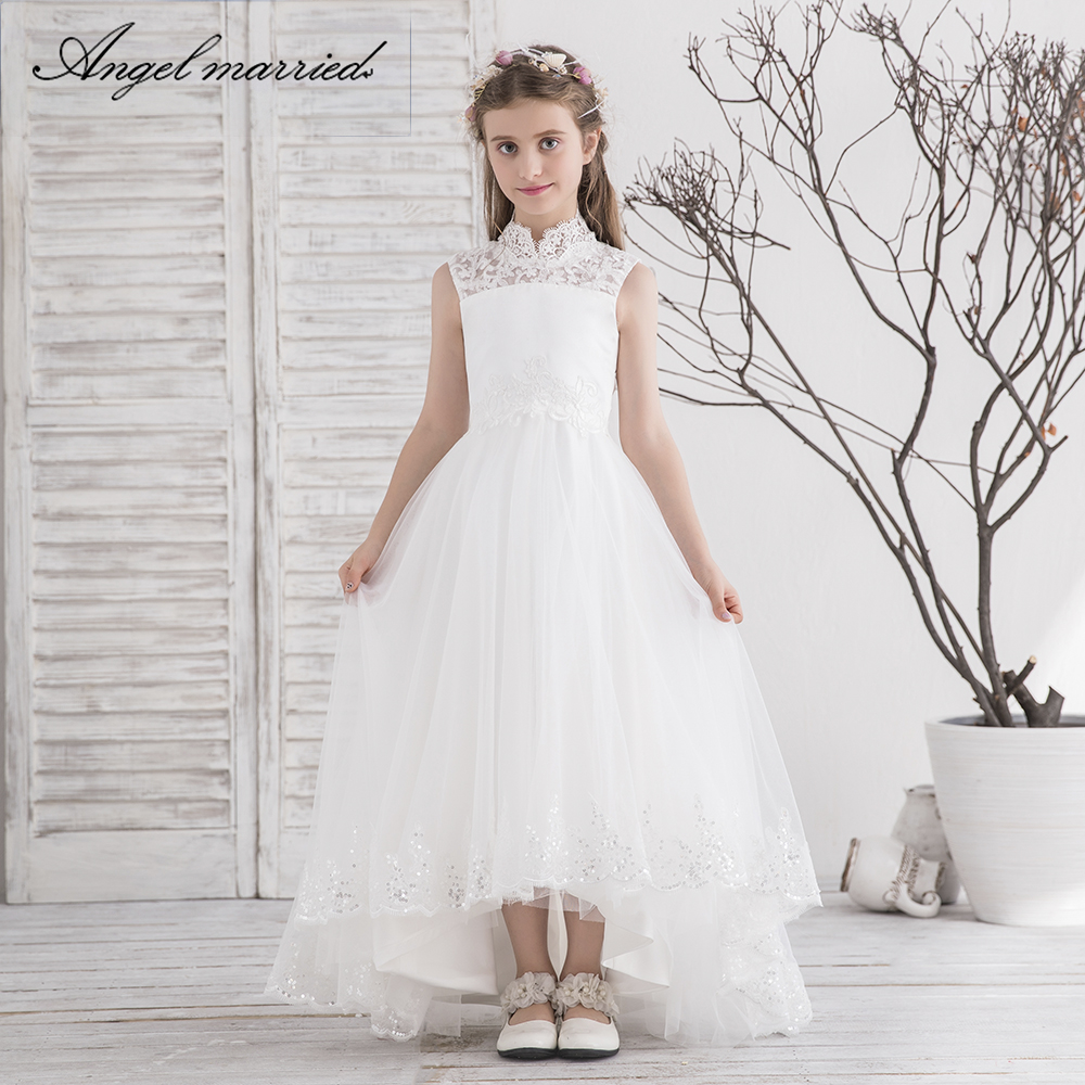 Angel married lace   flower     girl     dress   white communion   dresses   tulle pageant   dresses   for   girls   vestido de daminha 2019 new