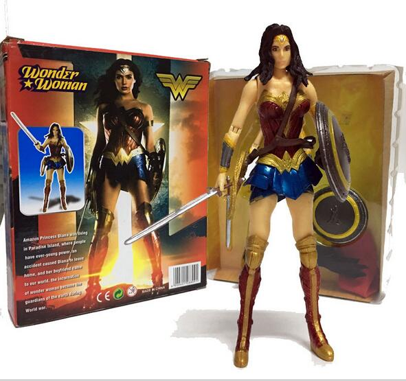 NEW hot 17cm Wonder woman Justice league Super hero collectors action figure toys Christmas gift doll with box new hot 18cm super hero justice league wonder woman action figure toys collection doll christmas gift with box