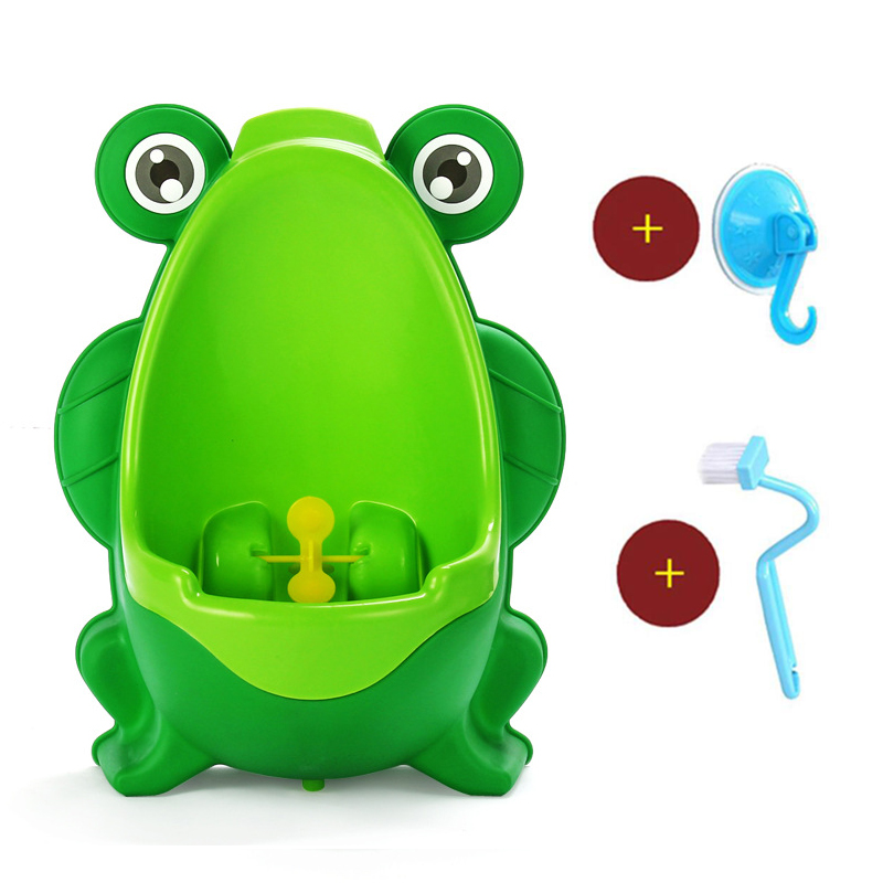 Baby Potty Toilet Potties Cartoon Frog Pot Wall-Mounted Urinals Portable Boy Kids Toilet Training Leakproof Children Potty Brush