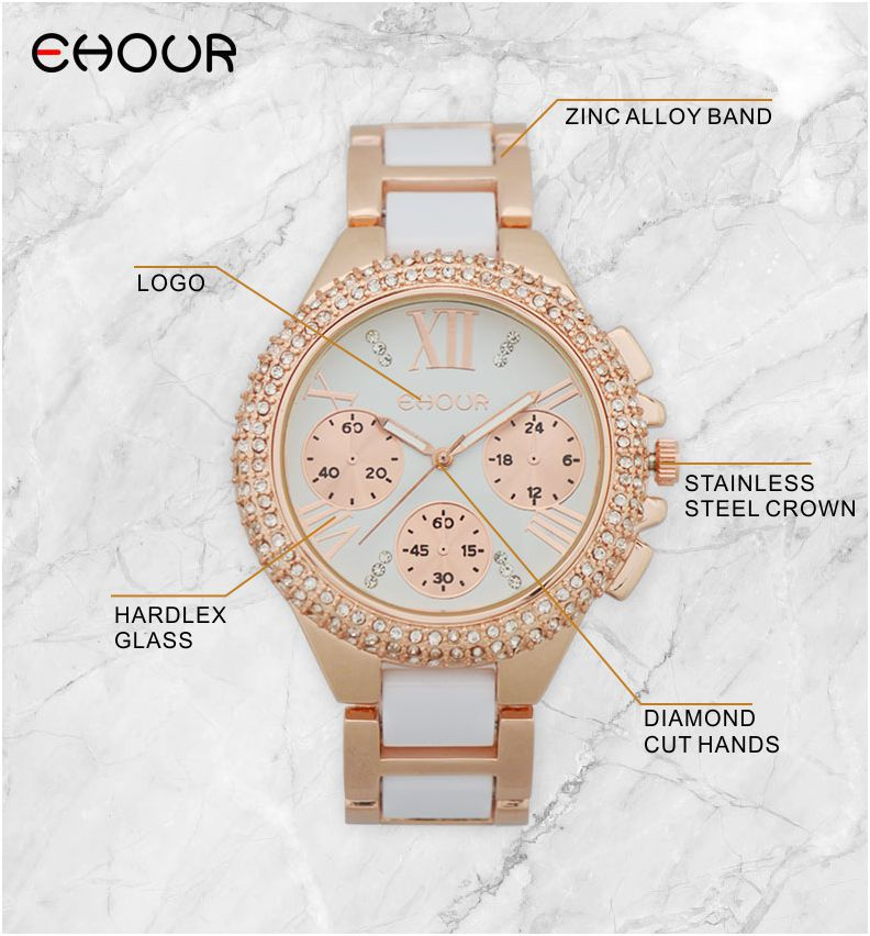 Fashion Crystal 2015 GENEVA Watch Women Silicon To-tone akryl - Dameure - Foto 5