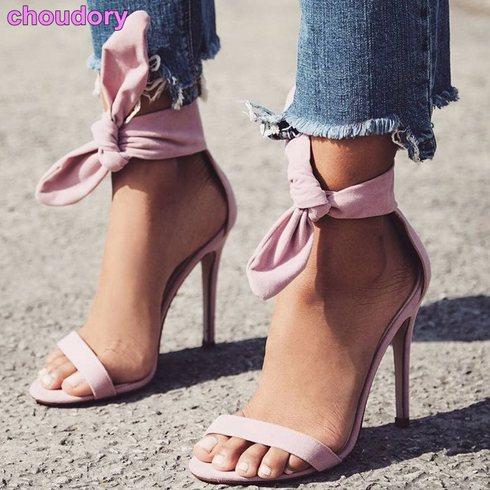 Newest Brand Designer Pink Yellow Suede High Heel Sandals Ankle Big Bowknot Gladiator Sandal Shoes Single Strap Thin Heel Pumps abnormal ankle strap folk multi colored catwalk colourful sandal round toe chunky peep pumps pom high quality designer shoe heel