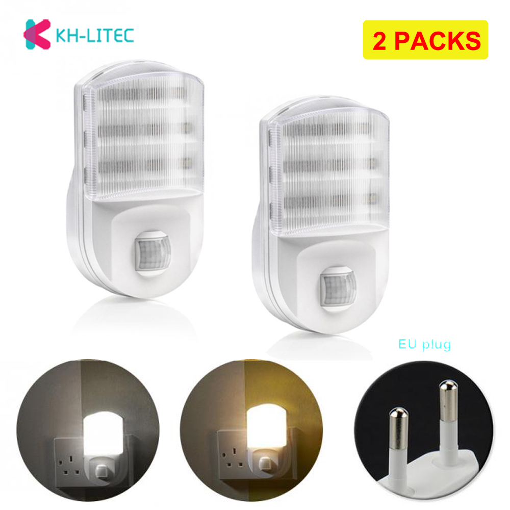 2 PACK Motion Sensor Night Light Potable 9 LED Closet Lights Plug Socket Power Supply Cabinet IR Infrared Motion Wall Lamp
