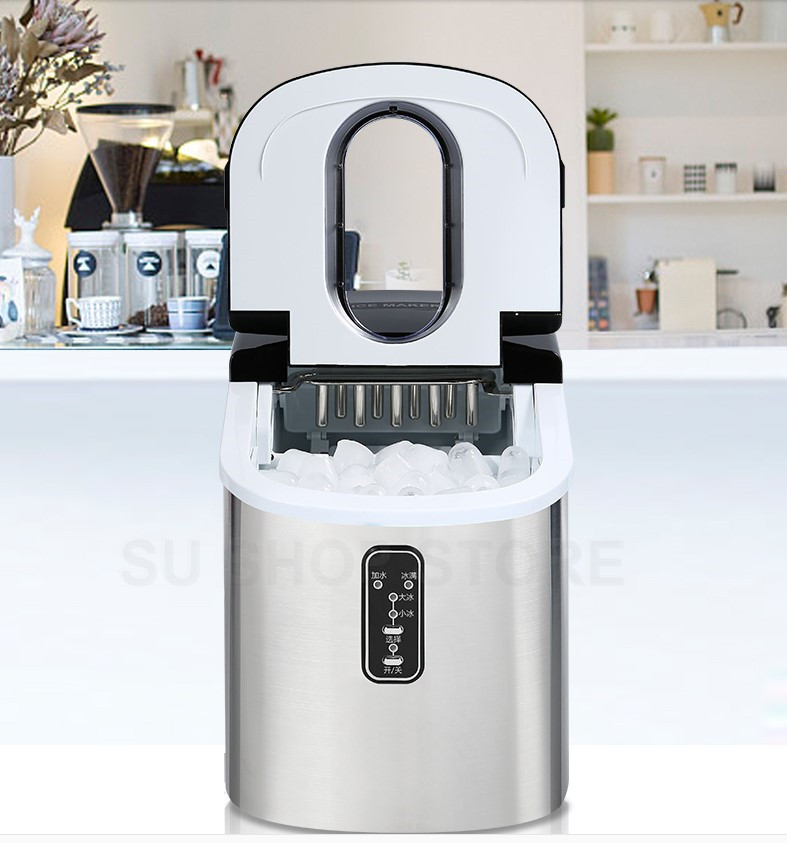 Free Shipping 16kgs/24H Portable Automatic Ice Maker, Household Bullet Round Ice Make Machine For Family, Small Bar,coffee Shop