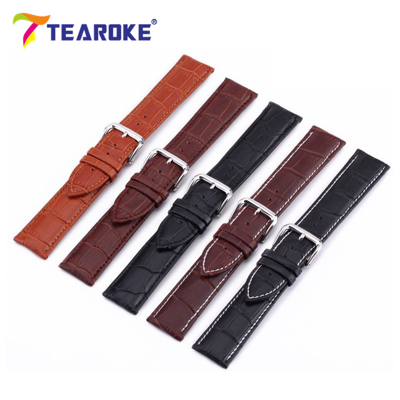TEAROKE Leather Watchband 12 - 24mm Crocodile Pattern Stainless Steel Clasp Buckle Replacement Strap Men Women Watch Band Black