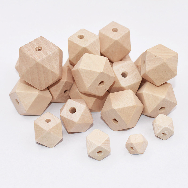 Geometric Wooden Beads 12mm Pack of 20 Natural