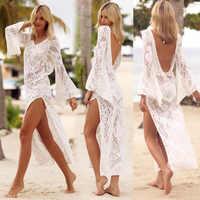 2018 сексуальное кружевное пляжное платье, белый купальник с высоким разрезом без спинки, женский купальник, накидка, Пляжная туника, Saida de Praia