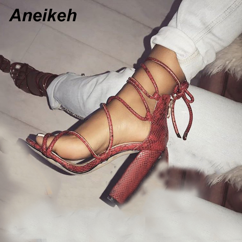 Detail Feedback Questions about Aneikeh 2018 Summer New Hot Women Pumps Sexy  High Heels Shoes Roman Style Black Serpentine Cross Straps Sexy Woman  Sandals ... 22d1c6b98a8a