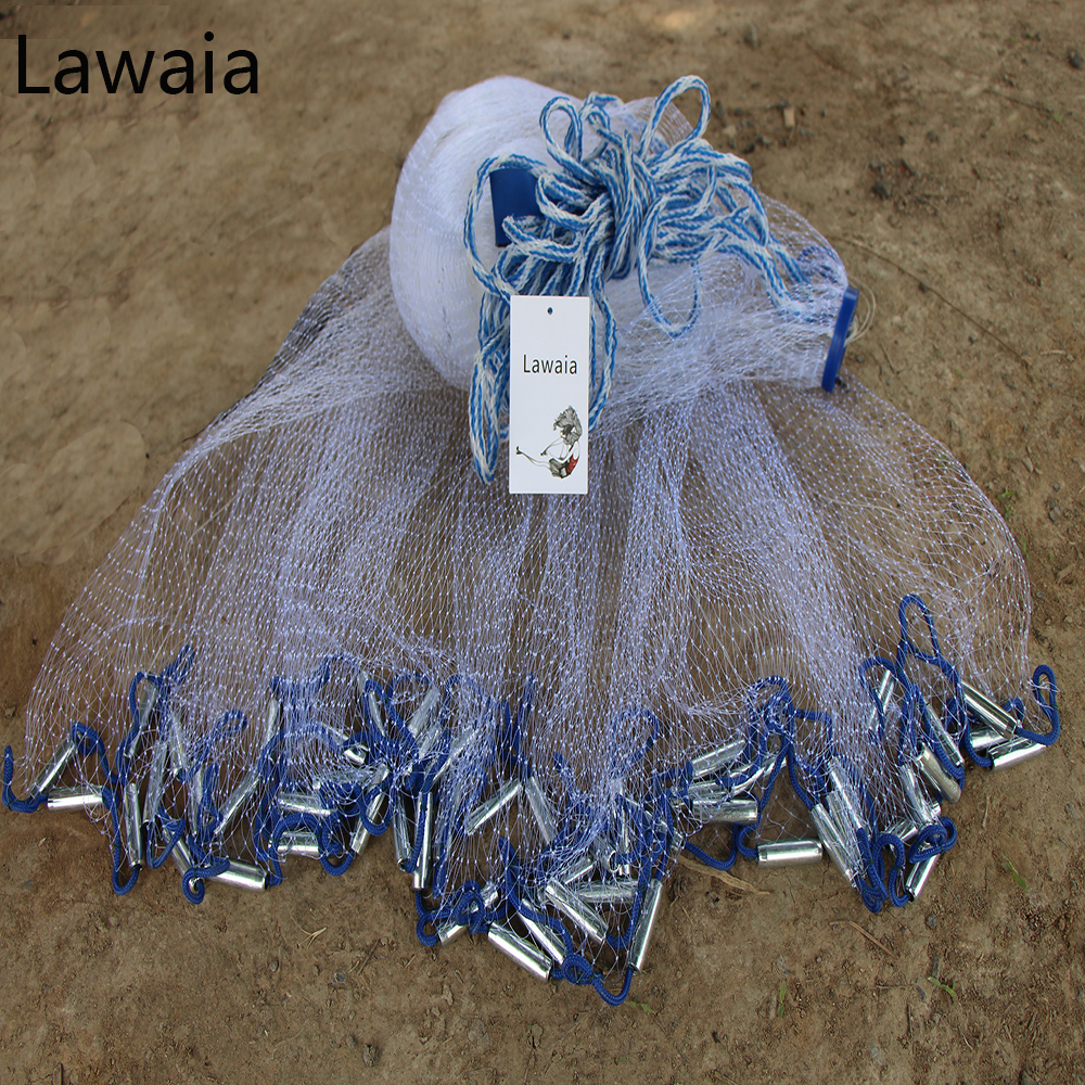 Lawaia Fishing Net Hand Cast Fishing Net Have Sinkers Throwing Cast Nets Have Sinkers Diameter 2.4-7.2m Fishing Casting Net 4 8m 8ft cast net saltwater bait casting net strong nylon line with sinker