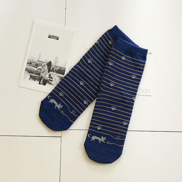 5 Pairs Cat Footprints Striped Socks