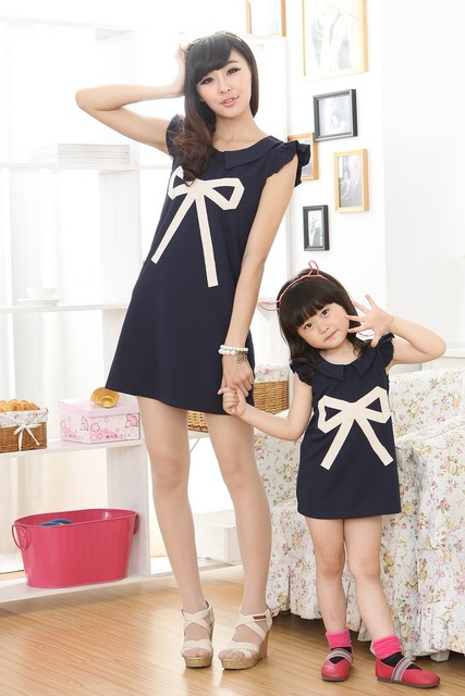 mom and daughter dress matching mother daughter clothes family look girl and mother dress fashion big bow print sleeveless