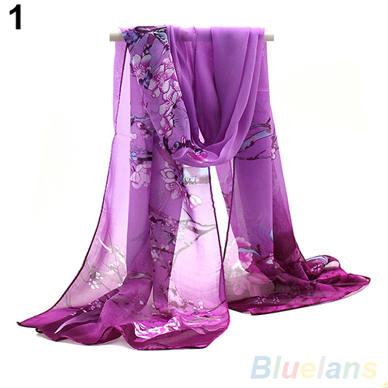 Bluelans Femmes Rétro Style Dames Moyen Longue Mousseline de Soie Volé  Scrawl Fleur Imprimé Souple Écharpe b914c264b28