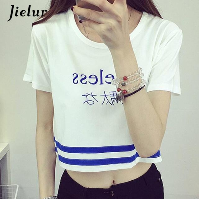 Japanese Letter Printed Fashion Crop Top Short-sleeved T shirt Women Chic Sexy Ladies T shirts 2018 Summer Harajuku Girls Tee