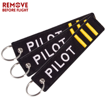 REMOVE BEFORE FLIGHT Car keychain Embroidery Pilot Key Chain motorcycle Keyring for Aviation Gifts Luggage Tag 3PCS/LOT