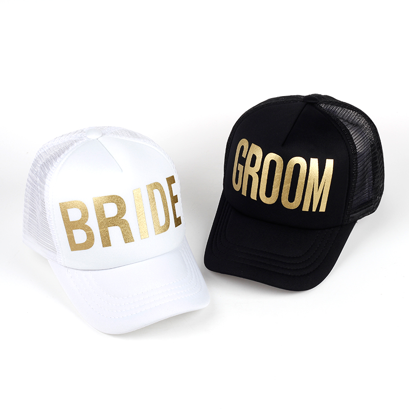BRIDE GROOM Golden Print Bachelorette Mesh Hats Women Wedding Preparewear Trucker Caps White Neon Baseball Cap Snapback