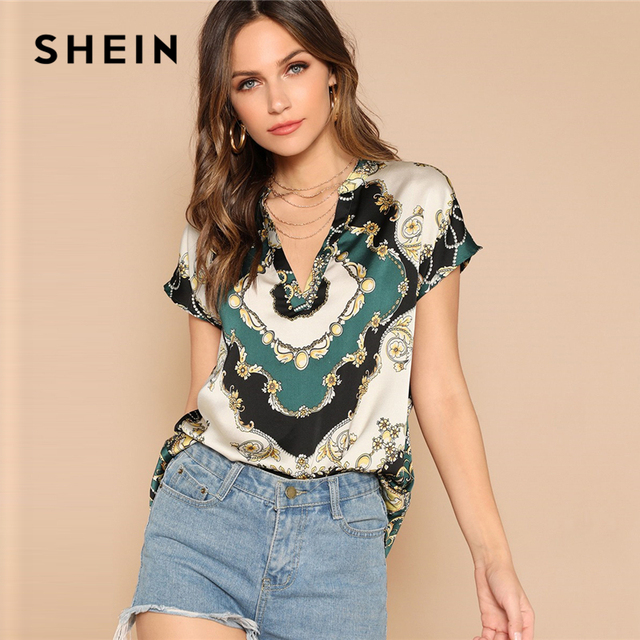 b9a272918c28 SHEIN Vintage Multicolor Curved Hem Scarf Print V Neck Top Satin Blouse  Women Summer Cap Sleeve Glamorous Casual Blouses