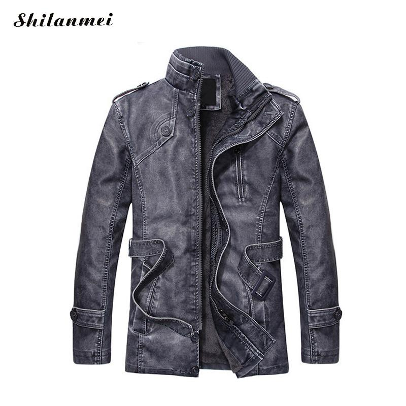 Hip Hop Leather Jacket Men Slim Warm mens PU Leather Motorcycle Biker Jackets Standing Collar Coat Outwear parka Plus size XXXL
