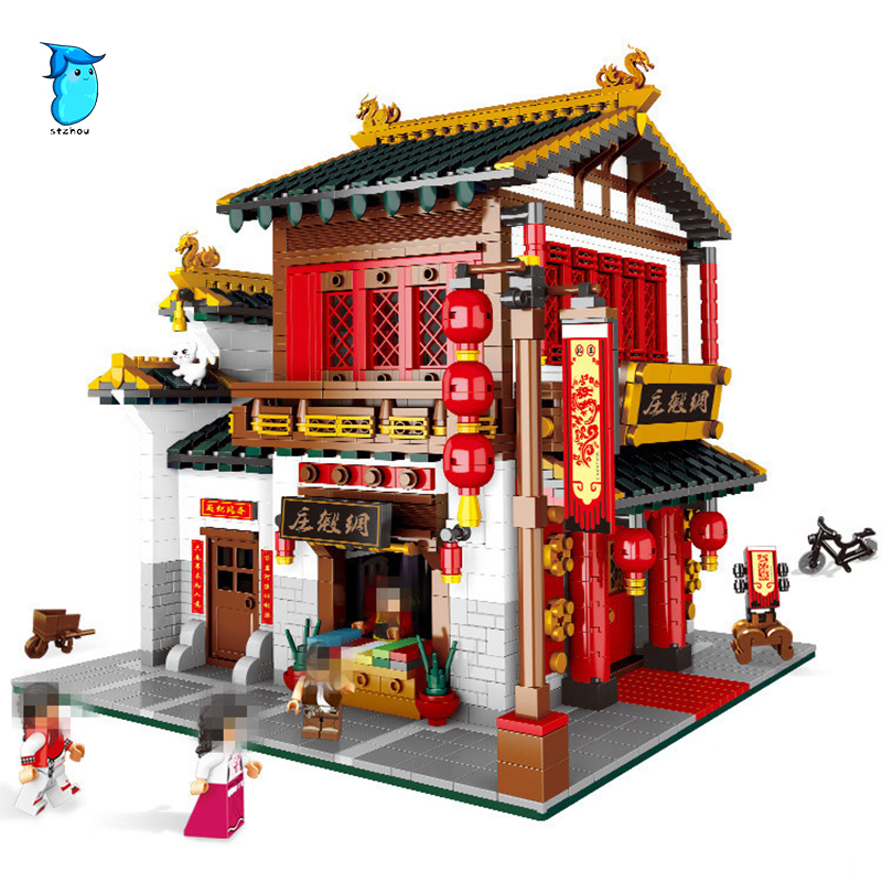 StZhou 01001 2787Pcs Creative Chinese Style The Chinese Silk and Satin Store Set Building Blocks Bricks Toys Model Children Toy xingbao 01001 creative chinese style the chinese silk and satin store 2787pcs set educational building blocks bricks toys model