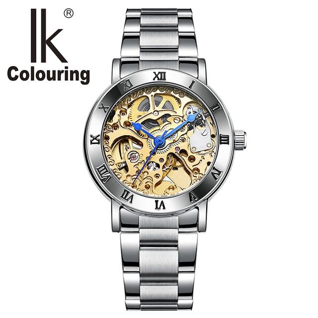 4f406d46242 Relogio feminino Ladies Automatic Skeleton Relógios Das Mulheres Tom de  Ouro Relógios Mecânicos IK Colouring Relógios